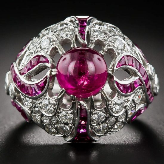 Lang Antiques art deco cabochon ruby and diamond ring as seen on Rihanna