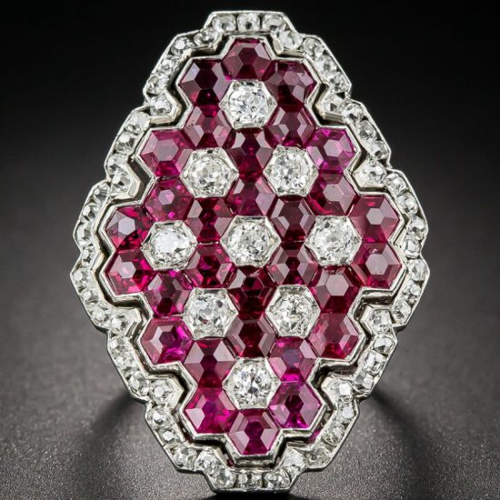 Lang Antiques ruby and diamond art deco ring as seen on Rihanna