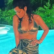 Rihanna metallic skirt instagram Dries Van Noten, Amina Muaddi x AWGE ASAP Rocky crystal gladiator sandals, Elizabeth Gage peridot heliothrope ring