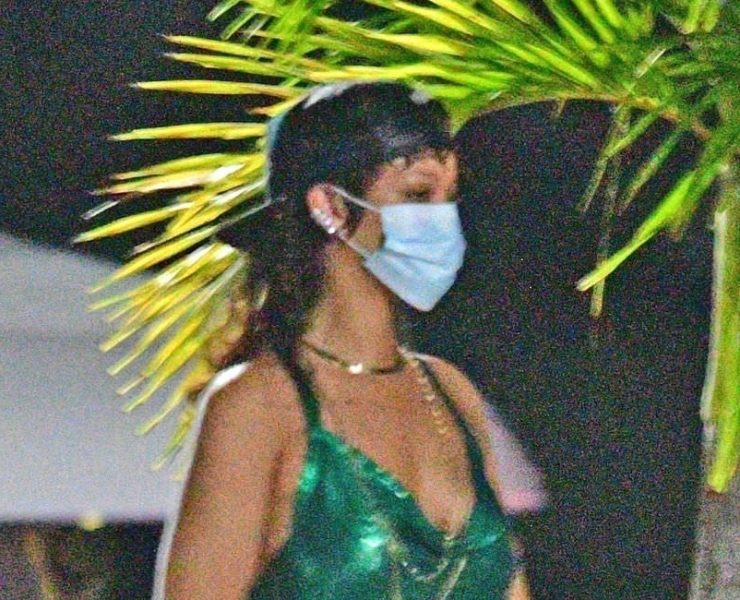 Rihanna green chainmail dress Fannie Schiavoni Hailey, Fenty Side Note sunglasses Barbados