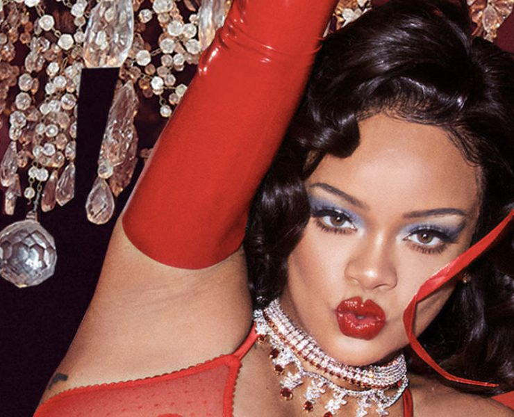 Rihanna red lace lingerie Savage X Fenty Valentine's day bralette, g-string, garter, fishnet slip and corset skirt, Lang Antiques art deco diamond and ruby bracelets and rings, Hammerman diamond necklaces, Feng J Coeur Rouge red bangle, Atsuko Kudo latex opera gloves and stockings