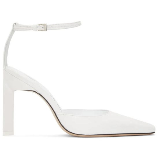 The Attico white Amber pumps as seen on Rihanna